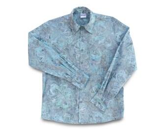 Mens Dress Shirt, Blue Mens Shirt, Cotton Batik Shirt, Mens Party Shirt, Mens Cotton Shirt
