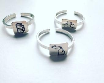 Adjustable Silver Stamp Ring