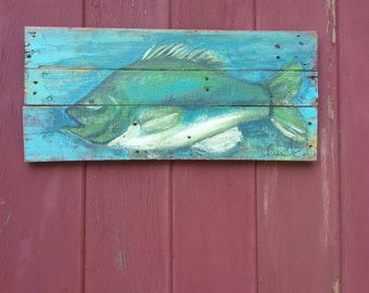 Bass/ fishing sign/ fiaherman/ Pallet art/ lake house/ cottage art/ beach house/ distressed/ hand painted  /  farm wood