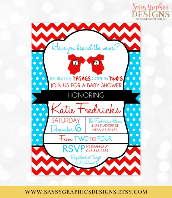 Twins Baby Shower Invitation Dr. Seuss Inspired Thing 1 Thing