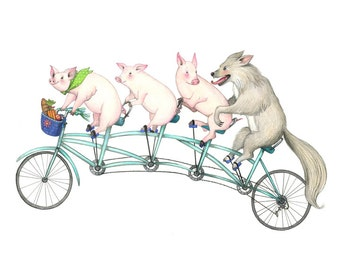 8x10 Giclée Print of Three Pigs and Wolf on Bicycle