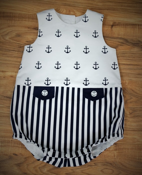 Baby Boy Nautical Bubble Suit Romper Navy And White Ready To