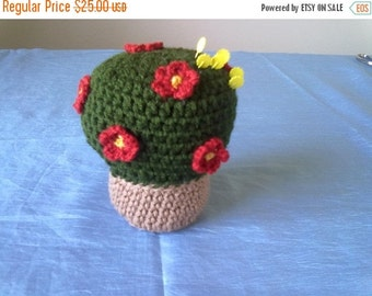 ON SALE Red Flower Pot Crochet Pincushion Ready to Ship
