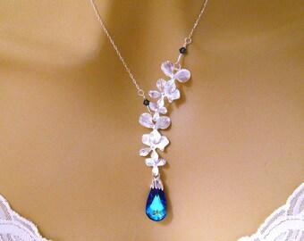 Orchid Bridesmaid Necklace, Bridal Necklace, Blue Wedding Necklace Swarovski Crystal and Orchid Bridesmaid Necklace, Prom