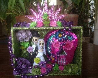 Day of the Dead Wedding Nicho/Shrine/CakeTopper/Altar Piece