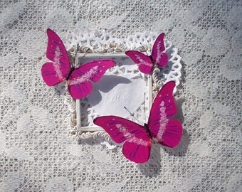 Butterflies, Scrapbooking, Mixed Media, Shabby Chic, Tag Art, Home Decor, Fairy Tale Pink, Set of 3