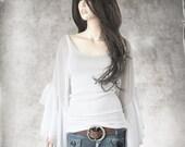 White knit top/Long bell sleeve women/Scoop neck tank