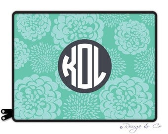 """AQUA TEAL PEONY personalize laptop sleeve 13"""" or 15"""" - with monogram - elastic tabs lets you keep the sleeve on while you work"""