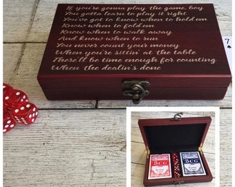 Poker Set Personalized Engraved Cards Dice Gambler Game Wedding Groomsman Groom Husband Father Son Gift for him Valentines day Christmas