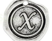 """Add On Initial """"X"""" Charm, personalized letter charm, monogram, Personalized Keychain, Personalized Necklace, antiqued silver plated charm"""