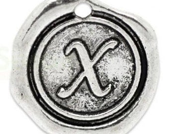 "Add On Initial ""X"" Charm, personalized letter charm, monogram, Personalized Keychain, Personalized Necklace, antiqued silver plated charm"