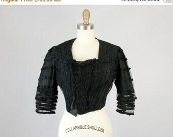 SALE Antique Victorian Steampunk Black Lace Blouse Jacket (XS, XXS)
