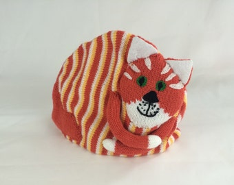 Stripy orange cat teacosy