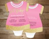 Pink & gold baby shower invitation - bodysuit romper Invitations - girl baby shower - gold glitter - Little lady Invite - Set of 10