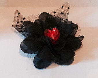 Black Lace Hair Flower with Red Jewel Heart Hair Barrette Flowers Lace One of a kind