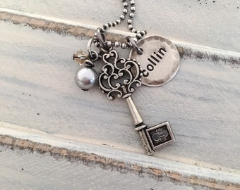 Personalized rustic hand stamped necklace with key charm and swarovski charms