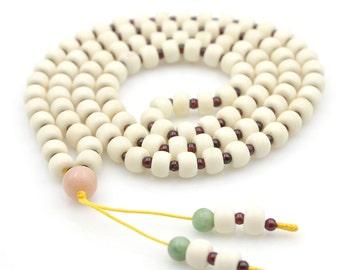 Tibetan 8mm x 6mm Ox Bone Prayer Beads Buddhist 108 Mala  N108-NG002