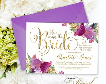 Purple Bridal Shower Invitation - Gold Glitter Glam Sparkling Amethyst Watercolor Flowers Printable Here Comes the Bride
