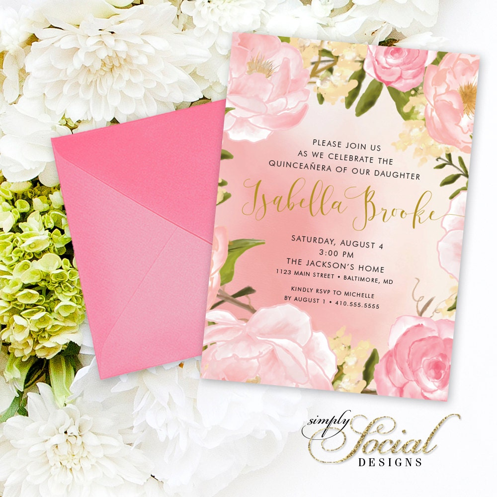 Quinceañera Invitation - Birthday Peony Flowers Blush Pink and ...