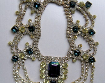 Vintage Czech Huge Rhinestone Necklace Dark Blue AB and Pale Yellow