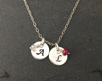 Mother's necklace, personalized necklace, initial birthstone necklace, sterling silver pendant necklace