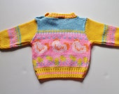 Ugly Easter Sweater for Baby - Chicken Rooster Barnyard Animal Sweater - Yellow and Pink - 80's Kids  Clothing