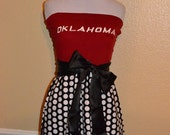 Oklahoma Sooners OU Gameday Strapless Red Black White Polka Dot Football Dress with Black Sash Bow - Small
