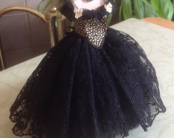 Handmade beautiful miniature dollhouse black silk, lace and tulle 1/12th scale dress