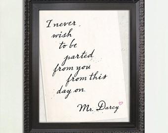 Mr. Darcy quote, Mr. Darcy Art, Mr. Darcy Love Note,  Jane Austen art, Jane Austen quote, Old World Style