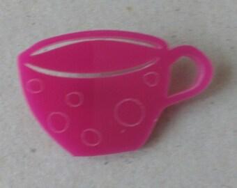 CLEARANCE pink acrylic teacup brooch