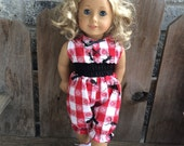 """ANTS American Girl romper and bow for 18"""" AG doll - Ready to ship"""