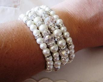 Bridal Pearl Bracelet Swarovski pearls and rhinestone  Bracelet - 4 Strand Pearl - Made to Order