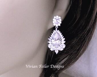 Bridal Earrings WEDDING EARRINGS Short Cubic Zirconia Sparkly Prom Earrings Wedding Jewellery