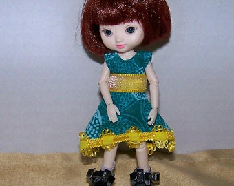 Handmade Amelia Thimble clothes - teal dress with yellow trim - Clearance
