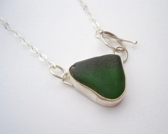 50% Summer Sale Sea Glass and Silver Pendant, The Poros Collection