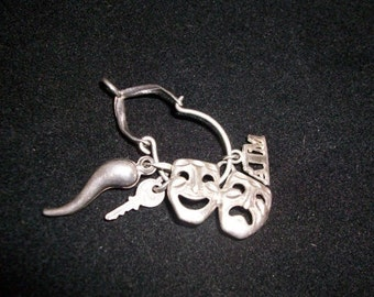 Sterling Mask Pendant w/Charms