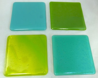 Fused Glass Coasters with iridescent aquamarine, green and opal turquoise Combo -  set of 4 MTO
