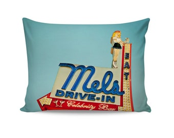 Mel's Diner Neon Sign Pillow Cover | Mid Century Pillow | Retro Home Decor | Decorative Pillow Cover | Retro Pillow | Travel Trailer Decor