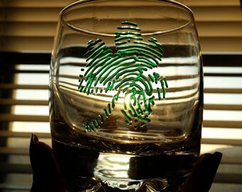 Shamrock Fingerprint Rocks Glass Set (2) Clear Glass Green Fingerprints