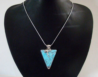 Sterling Silver Morenci Turquoise Pendant! 23 grams  Gorgeous!