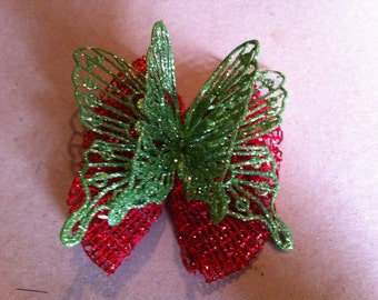 Red Green Glitter Butterfly Hair Bow (134)