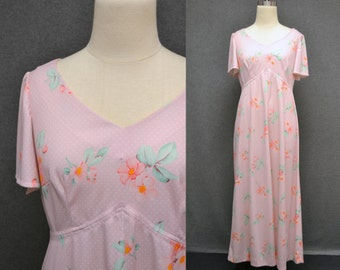 1970s Pink Floral Maxi Dress