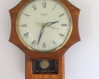 United Model No.59 Wood with Glass Front Pendulum Wall Clock