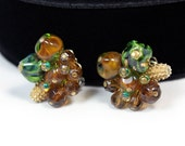 Alice Caviness Cluster Earrings, Glass and Ceramic Beads, 1950s