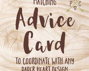 ADD ON: Matching Advice Card to coordinate with any Paper Heart Design - Design file
