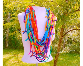 T Shirt Scarf , Infinity  Crazy Rainbow Infinity T-Shirt Scarf Necklace, Up Cycle , Repurpose , 14 Vibrant Loops, Handmade By: Tranquilityy