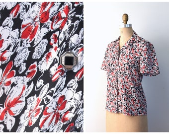 handmade floral print blouse - short sleeve ladies top / 60s black & red floral blouse - floral top / summer blouse