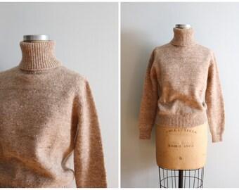 vintage 80s Evan Picone sweater -  80s wool turtleneck sweater / vintage preppy sweater - ladies tweedy tan sweater / vintage wool sweater