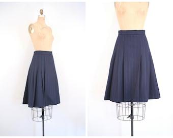 navy blue chalk stripe pleated skirt -  midnight pinstripe wool / Adolfo . Atelier - vintage 80s career wear / 1980s designer - preppy