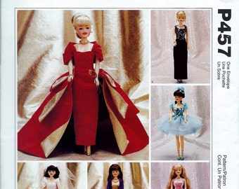 "McCalls Pattern P457 Barbie 11-1/2"" Fashion Doll Clothes Evening Dress Wedding Gown UNCUT"